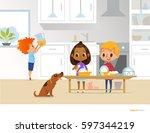 children cleaning up kitchen.... | Shutterstock .eps vector #597344219