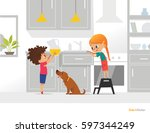 two kids cooking their own... | Shutterstock .eps vector #597344249