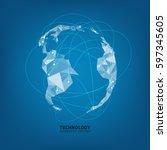 technology network. growth...   Shutterstock .eps vector #597345605