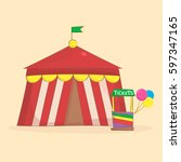 circus tent. amusement park and ... | Shutterstock .eps vector #597347165