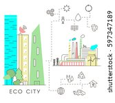 eco city in linear style  ... | Shutterstock .eps vector #597347189