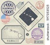 retro vintage postage stamps... | Shutterstock .eps vector #597353525
