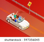 young friends riding open top... | Shutterstock .eps vector #597356045