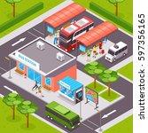 bus station isometric design... | Shutterstock .eps vector #597356165