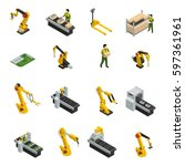electronics factory isometric... | Shutterstock .eps vector #597361961