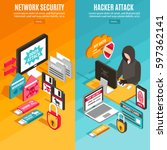 vertical internet hacker attack ... | Shutterstock .eps vector #597362141