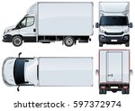 vector truck template isolated... | Shutterstock .eps vector #597372974