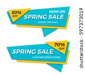 spring sale label price tag... | Shutterstock .eps vector #597373019