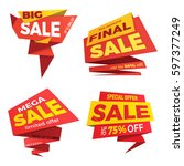 sale label price tag banner... | Shutterstock .eps vector #597377249