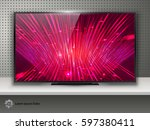 realistic modern tv with... | Shutterstock .eps vector #597380411