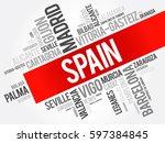 list of cities in spain word... | Shutterstock .eps vector #597384845