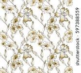 floral seamless pattern... | Shutterstock . vector #597388559