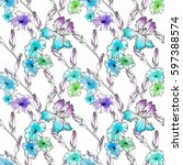 floral seamless pattern... | Shutterstock . vector #597388574