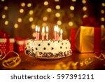 happy birthday cake with... | Shutterstock . vector #597391211