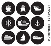 ship icons set. white on a... | Shutterstock .eps vector #597393197