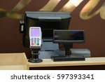 cash desk with screen and card... | Shutterstock . vector #597393341