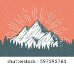 vintage vector postcard with a... | Shutterstock .eps vector #597393761