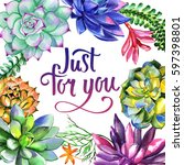 wildflower succulentus flower... | Shutterstock . vector #597398801
