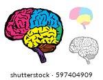 brain symbol doodle vector | Shutterstock .eps vector #597404909