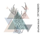 geometric reindeer illustration.... | Shutterstock .eps vector #597408095