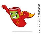 super hero battery mascot flying   Shutterstock .eps vector #597408389