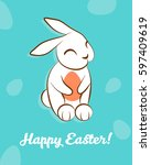 happy easter greeting card with ... | Shutterstock .eps vector #597409619