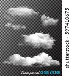 transparent set of cloud vectors | Shutterstock .eps vector #597410675