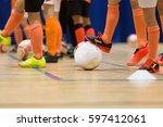football futsal training for... | Shutterstock . vector #597412061