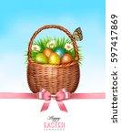 Happy Easter Background. Baske...