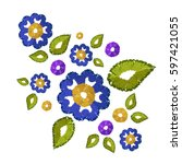 embroidery patch vintage... | Shutterstock .eps vector #597421055