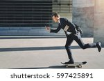 side view of a man on a... | Shutterstock . vector #597425891