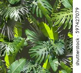 tropical leaves pattern palm... | Shutterstock . vector #597427079