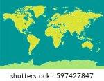 world map vector. triangle... | Shutterstock .eps vector #597427847