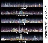 Stock vector abstract vector illustrations of dubai abu dhabi doha riyadh and kuwait city skylines at night 597428021