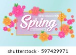 spring sale banner with... | Shutterstock .eps vector #597429971