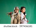 kids and education concept  ... | Shutterstock . vector #597436181
