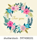 Floral Wreath On White...