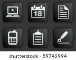 equipment icons on square black ...
