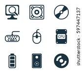 set of 9 computer hardware... | Shutterstock .eps vector #597447137