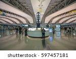 osaka   dec 12  passengers... | Shutterstock . vector #597457181