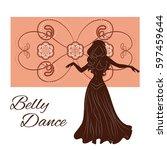 silhouette of belly dancer in... | Shutterstock .eps vector #597459644