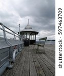 Small photo of Bangor, Wales, 03/06/2015, Garth pier kiosk in bangor north wales on an overcast day.