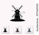 windmill vector icon. mill. | Shutterstock .eps vector #597465935