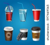coffee and juice plastic cups... | Shutterstock .eps vector #597469565