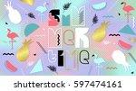 80s  summer holographic poster... | Shutterstock .eps vector #597474161