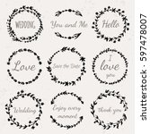 hand drawn floral wreath with... | Shutterstock .eps vector #597478007