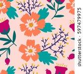 beautiful floral pattern.... | Shutterstock .eps vector #597479975
