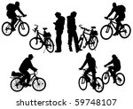 drawing bicycle races and people | Shutterstock . vector #59748107