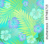 green tropical palm leaves with ... | Shutterstock . vector #597481715