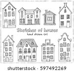set of hand drawn buildings.... | Shutterstock .eps vector #597492269